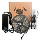 ME 2018 LED Strip Light Kit, 16.4ft 300LEDs Water-resistant Flexible Multicolor 5050 RGB Lighting + 12V5A Power Adapter + 44 Key Remote Control. For Holiday/Home/Store/Party/Indoor/Outdoor Decoration