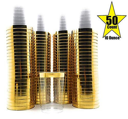 50 Count Hard Plastic 16 Ounce Party Cups Old Fashioned Tumblers Ideal for Home, Office, Bars, Wedding, Bridal and Baby Shower, Birthday, Retirement, Anniversary, Parties (Gold Rim) ()