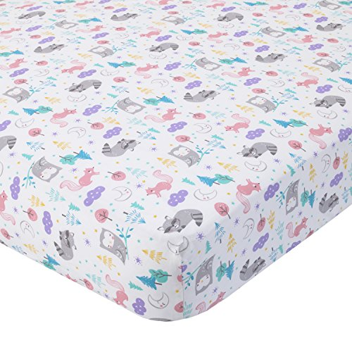 Carter's 100% Cotton Fitted Crib Sheet, Woodland/Forest, Pink, Purple, Gray, White