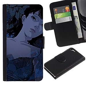 NEECELL GIFT forCITY // Billetera de cuero Caso Cubierta de protección Carcasa / Leather Wallet Case for Apple Iphone 5 / 5S // Muchacha de la historieta de Tattoed Sexy