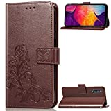 Halnziye Case for Samsung Galaxy A50, Magnetic Closure Soft TPU Flip Leather Wallet Phone Case with Kickstand Card Slots Designed for Samsung Galaxy A50 Cover - Brown