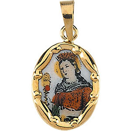 13.00x10.00 mm St. Barbara Hand-Painted Porcelain Medal in 14K Yellow Gold -