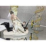 Amazoncom Gone Fishing Porcelain Wedding Cake Topper Caucasian