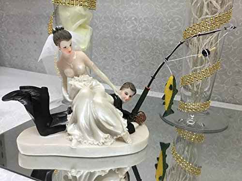 Wedding Funny Fishing Groom and Bride Couple Figurine Cake Top Decoration Catch of a Lifetime (Fishing Wedding Cake compare prices)