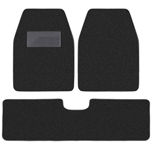 BDK 3 Pieces Heavy Duty Carpet Floor Mats for CAR SUV VAN - Extra Thick Carpet with Rubber Backing Multiple Colors (Black)