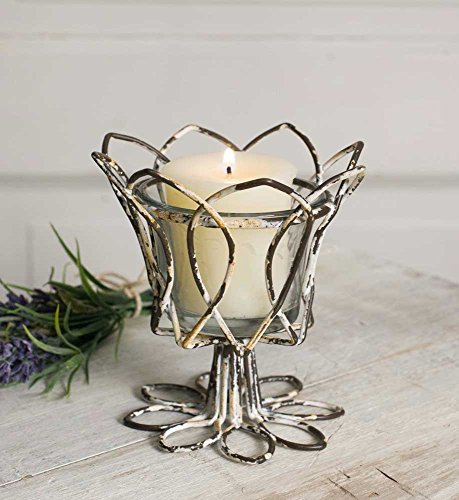 Distressed Metal Tulip with Glass Votive Holder (set of 4)