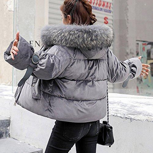 veste De Capuche Coton Duvet Courte Hiver Coton Fausse Mignon Gris Manteau Avec Doudoune Femme Chaude Fourrure Hanmax En qxOHaEzwn