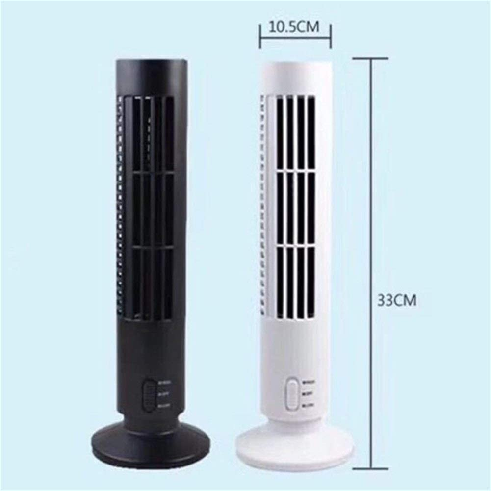 Color : Black YIWU Silent Cooling Tower Fan Mini USB Vertical Bladeless Air ConditionerHandheld Portable Cooler
