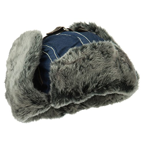 Chambray Faux Fur Trooper Hat - Navy OSFM