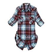 OCHENTA Women's Roll Up Sleeve Flannel Plaid Shirt C140 Peach Blue Tag 5XL - US 10-12