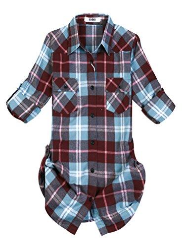 OCHENTA Women's Mid Long Style Roll Up Sleeve Plaid Flannel Shirt C140 Peach Blue Label 2XL - US 6-8 (Peach Label)
