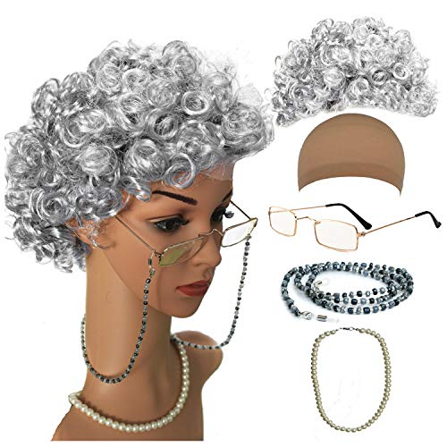 Old Lady Cosplay Set - Grandmother Wig, Wig Cap,Madea Granny Glasses, Eyeglass Chains Cords Strap, Pearl Beads (Style-6) -