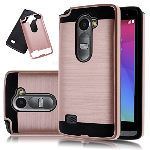 LG Leon Case, LG Tribute 2 Case, Kmall [Brushed Metal Texture] Hybrid Heavy Duty Shockproof Impact Resistant Full Body Drop Protection Slim Cover For LG Risio LG Power LG Destiny LG C40 [Rose Gold]