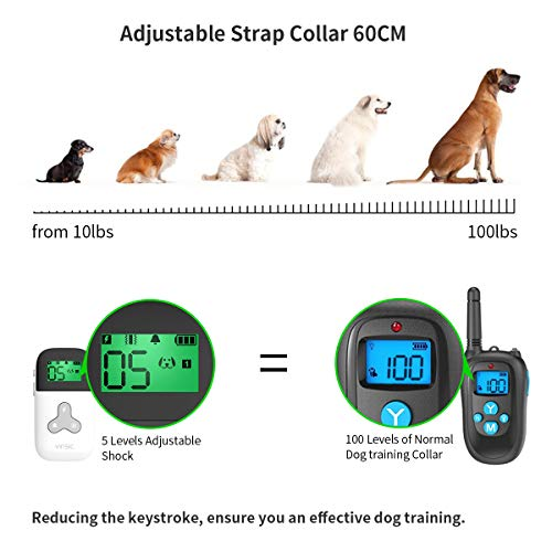VINSIC Dog Shock Collars with Remote for 2 Dogs, 100% Waterproof Dog Training Collars with 300yd Range Remote Control, for Small Big Dog bark Collar with LCD Display by VINSIC (Image #2)