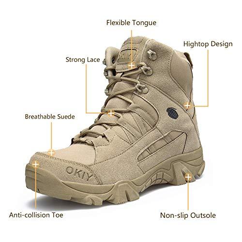 AONEGOLD Hommes Bottes de Randonnée Tactiques Militaires de Combat Bottes Chaussures de Trekking extérieures Respirantes… 3