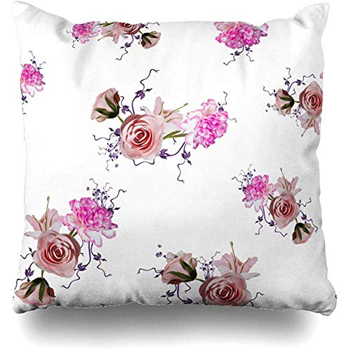 Throw Pillow Cover Cushion Case Plant Green Garden Flowers On Abstract Vintage Pink Bloom Blossom Blouse Bouquet Design Dress Home Decor Square 18x18 Inches