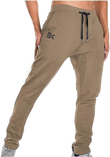 Amazon Com Brokig Pantalones Deportivos Para Hombre Con Cremallera Casual Para Gimnasio Entrenamiento Bolsillos Clothing
