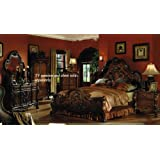4pc King Size Bedroom Set in Brown Cherry Finish