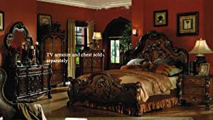 Marvelous 4pc King Size Bedroom Set In Brown Cherry Finish Awesome Ideas