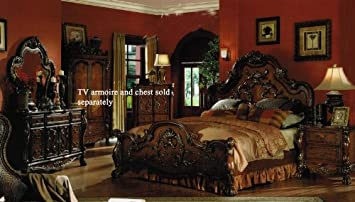 Wonderful 4pc King Size Bedroom Set In Brown Cherry Finish Nice Design