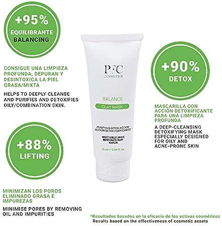 PFC Cosmetics - Mascarilla facial Purificante Piel Grasa y Mixta Balance Clay Mask 75ml con Caolín Arcilla de Bentonita y Multifrutas para la limpieza y el Cuidado Personal del Rostro