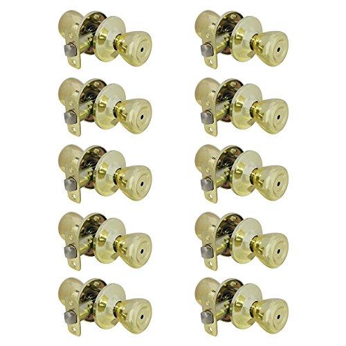 10 pack Interior Door Lock Handle Knob Security Privacy Door Locks Keyless Storage Room Bathroom 576-PB-BK, Polished Brass by Probrico