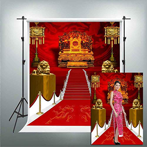 GESEN Background 5x7ft Chinese Court Style Red Carpet Noble Throne Photography Backdrop Pictures Birthday Themed Party Wedding Photos Background Photo Booth Studio Props PGGE531]()