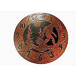 Wall Clock Bigfoot-01 Rustic Rusted Metal Black Back Plate 14 Quartz Movement Accurate to +/- one second per day Use 1 AA batteries (NOT INC)
