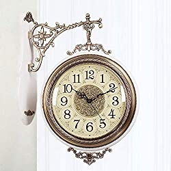 GAOXINGSHOP Wal Clock Vintage Retro Wall Clock European Style Wrought Iron Double-Sided Wall Clock Silent Large Double-Sided Clock (Color : C)