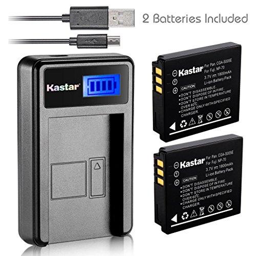 Kastar Battery (X2) & LCD Slim USB Charger for Panasonic Lumix CGA-S005 S005E DMW-BCC12 and Lumix DMC-FS1 FS2 DMC-FX01 FX07 DMC-FX1 FX3 FX8 FX9 FX10 FX12 FX50 FX100 FX150 FX180 DMC-LX1 LX2 LX3