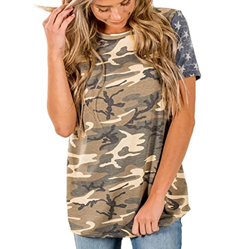 hirt,Clearance Sale Ladies Camouflage Print American Flag Sexy Short Sleeve Tops Blouse T-Shirt Tee (XXL, Multicolor) (Camouflage Camo New T-shirt)