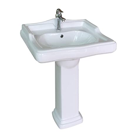 Pedestal Sink Medium White Grade A China U0026quot;Booneu0027s Ferryu0026quot; Single  Hole Overflow Open