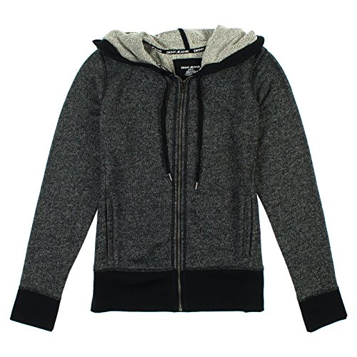 (DKNY Jeans Womens Zip Up Hoodie M Black & Dark Gray)
