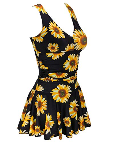 Plus Polka Dot - AONTUS Women's Plus-Size Polka Dot Shaping Body One Piece Swim Dresses Swimsuits (X-Large(US Size:16-18), Sunflower)