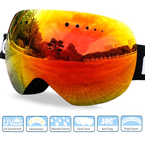 Premium Ski Goggles Over Glasses, Skiing Snow Goggles for Men Women Anti-Fog Frameless Snowboard Goggles UV 400 Protection with - For Glasses Snow