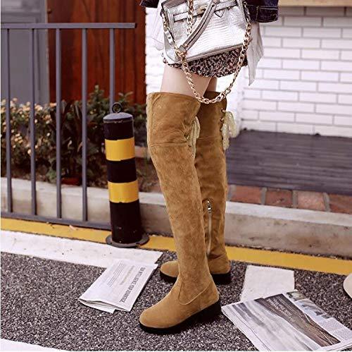 AGECC Damen Stiefel Bequeme Schöne Durable Winter Mit Dicken Sohlen Dicke Flache Kniestiefel Größe Grob Rohr Dünne Stiefel Sohn