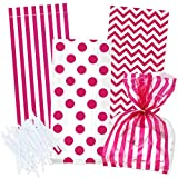 100 Hot Pink Cellophane Bags with Twist Ties for Baby Shower Boy Favor Goodie Bags in Polka Dot, Stripes and Chevron Design