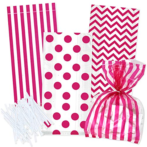 Gift Boutique 100 Hot Pink Cellophane Bags with Twist Ties for Baby Shower Boy Favor Goodie Bags in Polka Dot, Stripes and Chevron Design ()
