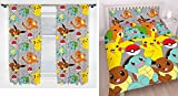Pokemon Catch Double Duvet Cover Set + Matching 54' Curtains