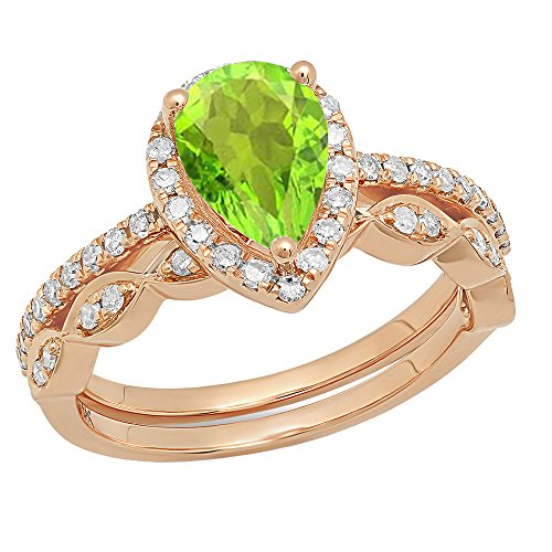 14K Rose Gold 9X6 MM Pear Peridot & Round Diamond Ladies Halo Engagement Ring Set (Size 6)