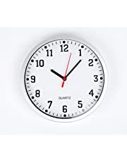 REAL ACCESSORIES® Large Silver Round Stylish Modern Wall Clock. Easy Readable Big Numbers. Ideal for Any Room in Home Dining Room Kitchen Office School Size : 23cm / 9""