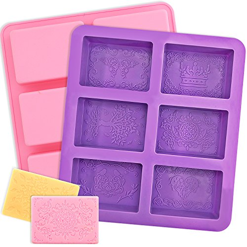 YGEOMER Silicone Soap Mold, 2pcs 6-Cavity Square Baking Molds for Making Soaps, Ice Cubes, Jelly by YGEOMER