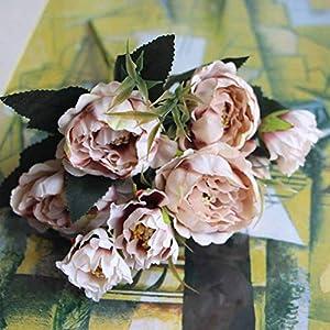8 Head Mini Artificial Peony Silk Flowers Bouquet European Wedding Bride Party Bouquet Home Garden Decoration,2 49