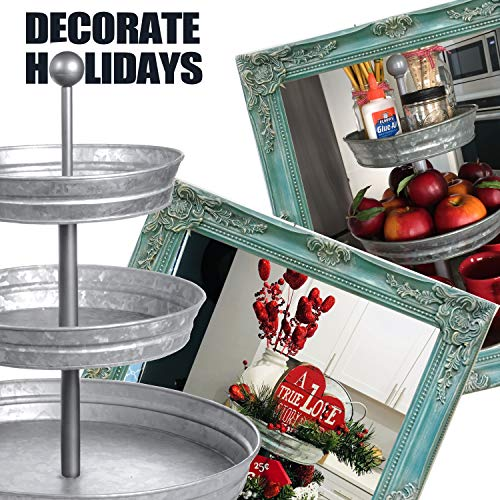 DELBRIO - 3 Tier Serving Tray (Jumbo 17'' Base) Rustic, Decorative Galvanized Metal | Home Farmhouse Decor & Display Stand | Coffee, Fruit & Veggie, Party Bar Serving Tray, Cupcake Stand | FOOD SAFE by DELBRIO (Image #3)