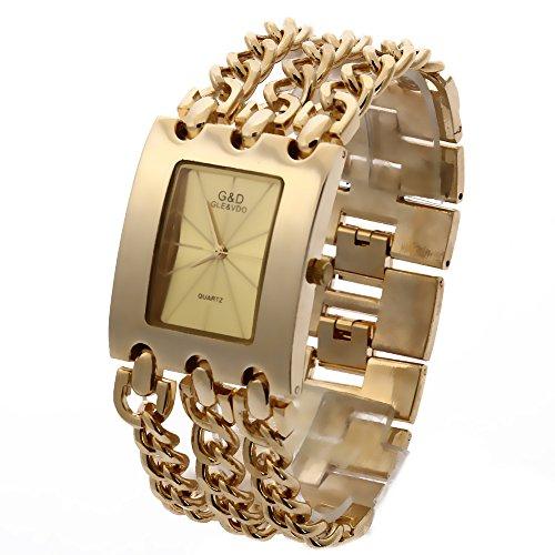 G&D Women's Gold Triple Chain Stainless Steel Band Rhinestone Quartz Analog Wrist - D&g Gold