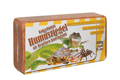 Humusziegel 650 g Kokosziegel Reptilien Bodengrund Kokoseinstreu Terrarienerde - ergibt 9 Liter Bodensubstrat