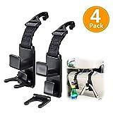 #5: DIRT MAMMA Universal Car Back Seat Headrest Hanger Holder Hook for Bag Purse Cloth Grocery Bottle - Vehicle Organizer (Black - 4 Pack)
