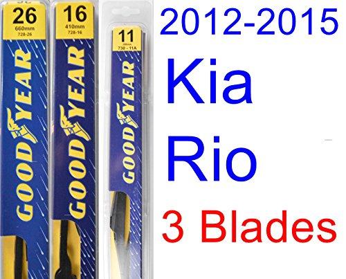 Kia Rio Set - 2012-2015 Kia Rio Replacement Wiper Blade Set/Kit (Set of 3 Blades) (Goodyear Wiper Blades-Premium) (2013,2014)