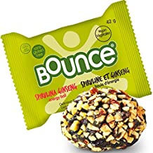 Bounce Spirulina Ginseng Natural Energy Ball - Vegan, Gluten Free, Non-GMO, On The Go Snack - 42g (Pack of 12)