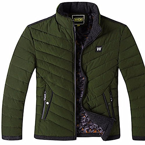 ZHUDJ Men's Regular Padded Coat,Simple Going Out Casual/Daily Solid Striped-Nylon Polyester Long Sleeves Army Green